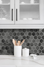 NW38600 inlay hexagon geometric peel and stick removable wallpaper backsplash from NextWall