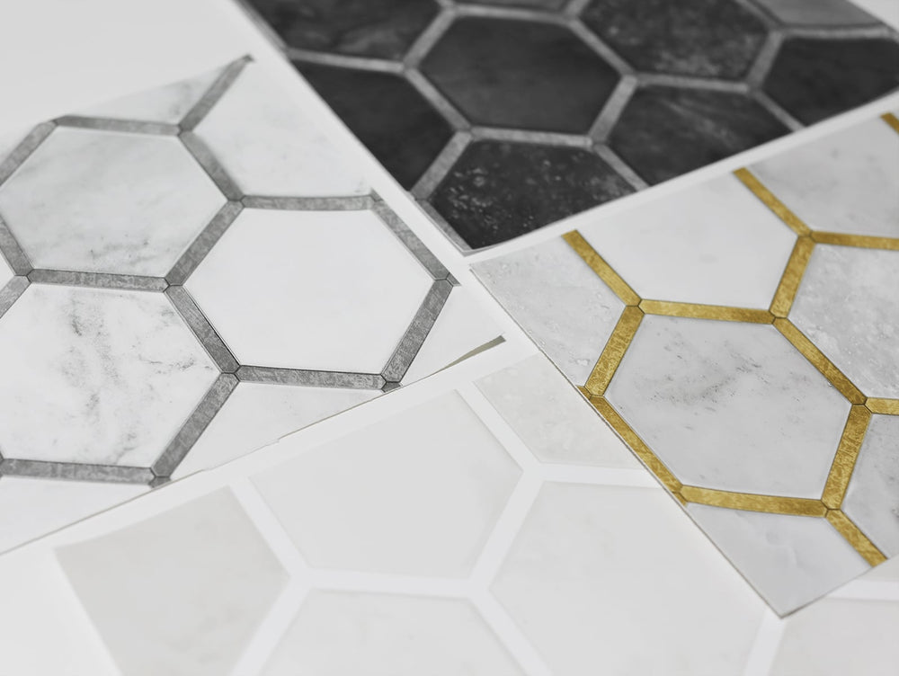 NW38600 inlay hexagon geometric peel and stick removable wallpaper detail from NextWall