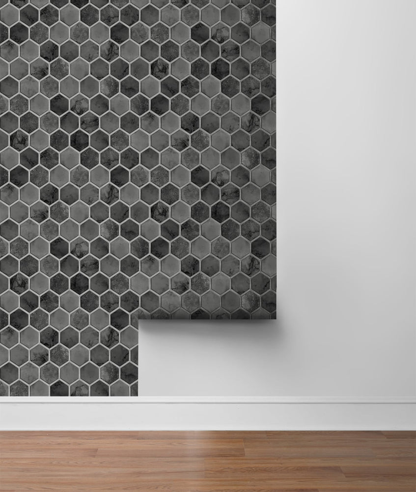 NW38600 inlay hexagon geometric peel and stick removable wallpaper roll from NextWall