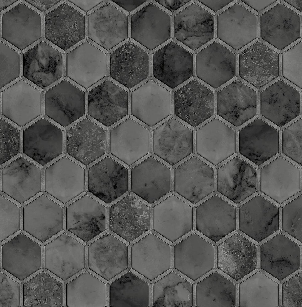 NextWall Inlay Hexagon Geometric Peel and Stick Removable Wallpaper