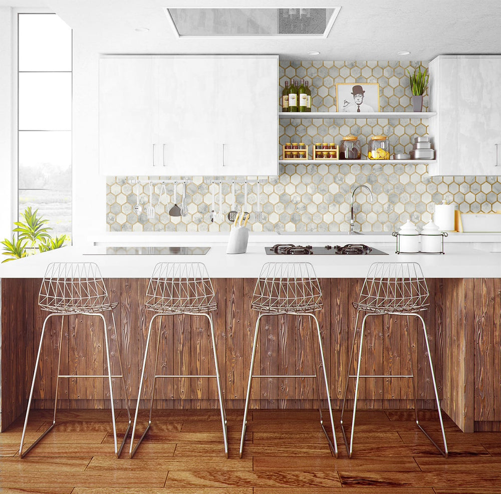 NW38605 inlay hexagon geometric peel and stick removable wallpaper kitchen from NextWall