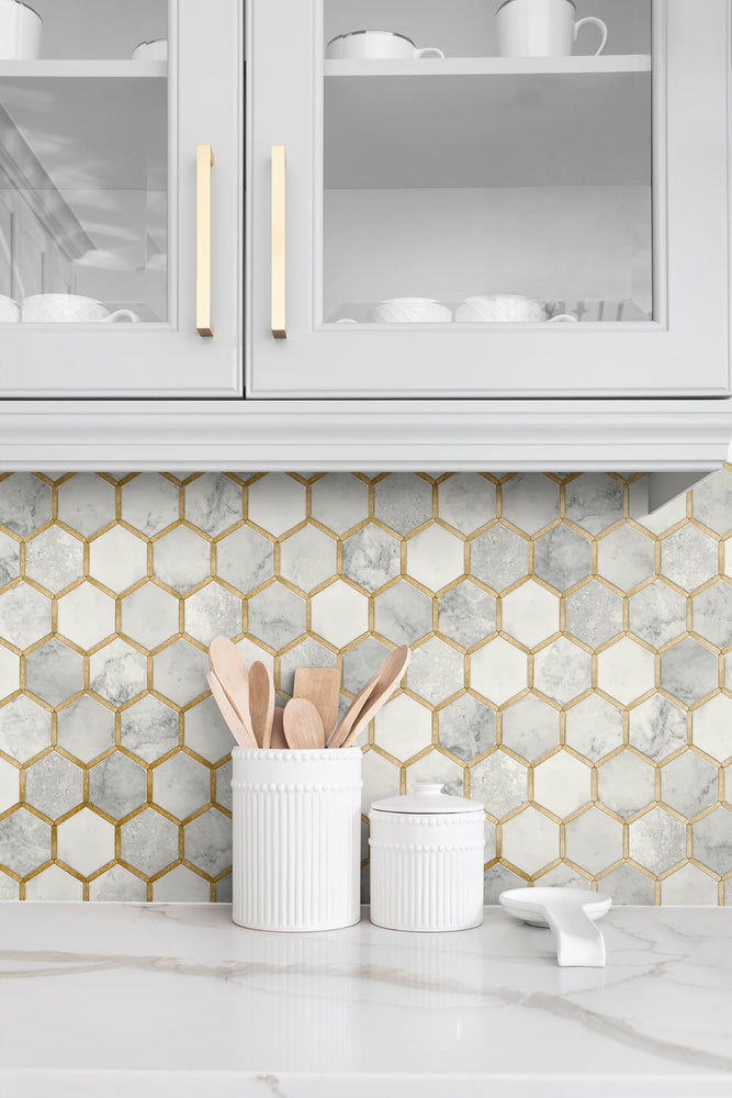 NW38605 inlay hexagon geometric peel and stick removable wallpaper backsplash from NextWall