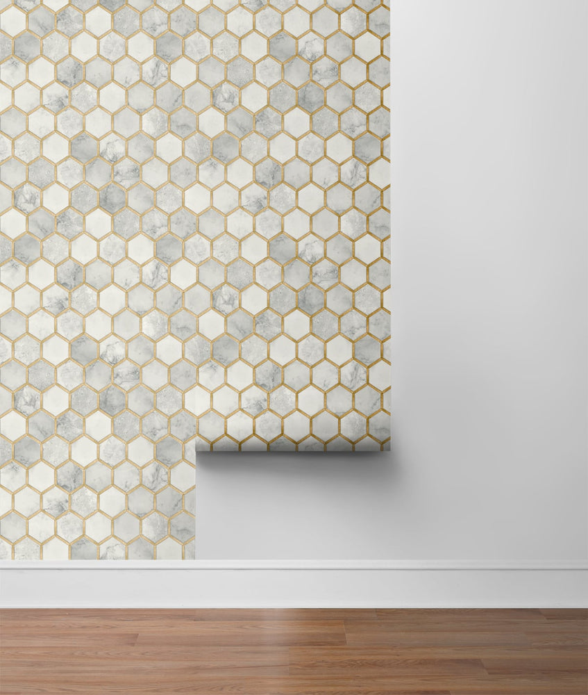 NW38605 inlay hexagon geometric peel and stick removable wallpaper roll from NextWall