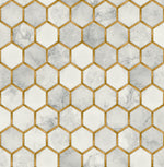 NW38605 inlay hexagon geometric peel and stick removable wallpaper from NextWall