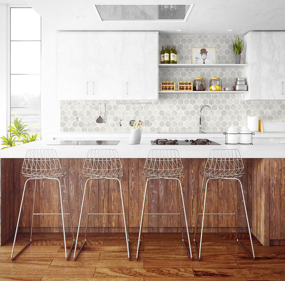 NW38606 inlay hexagon geometric peel and stick removable wallpaper kitchen from NextWall
