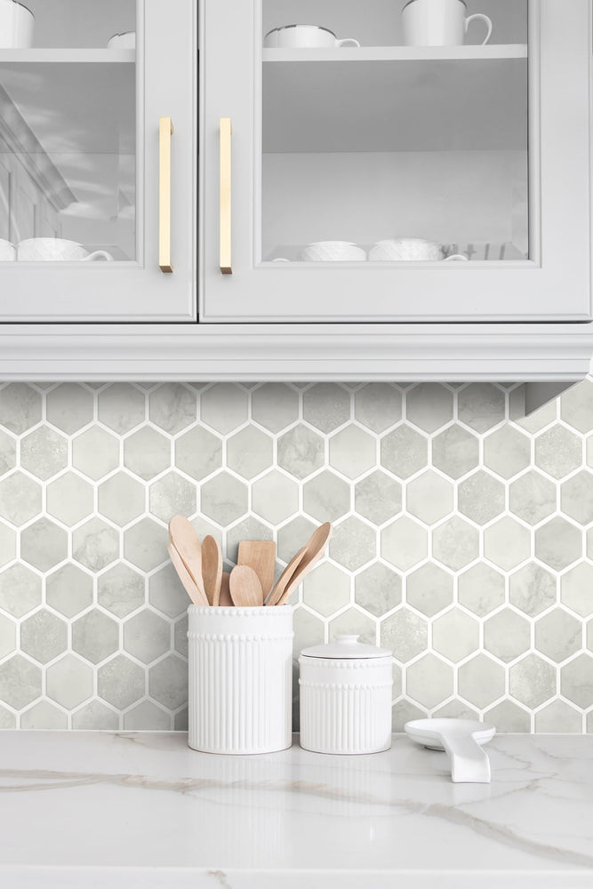 NW38606 inlay hexagon geometric peel and stick removable wallpaper backsplash from NextWall