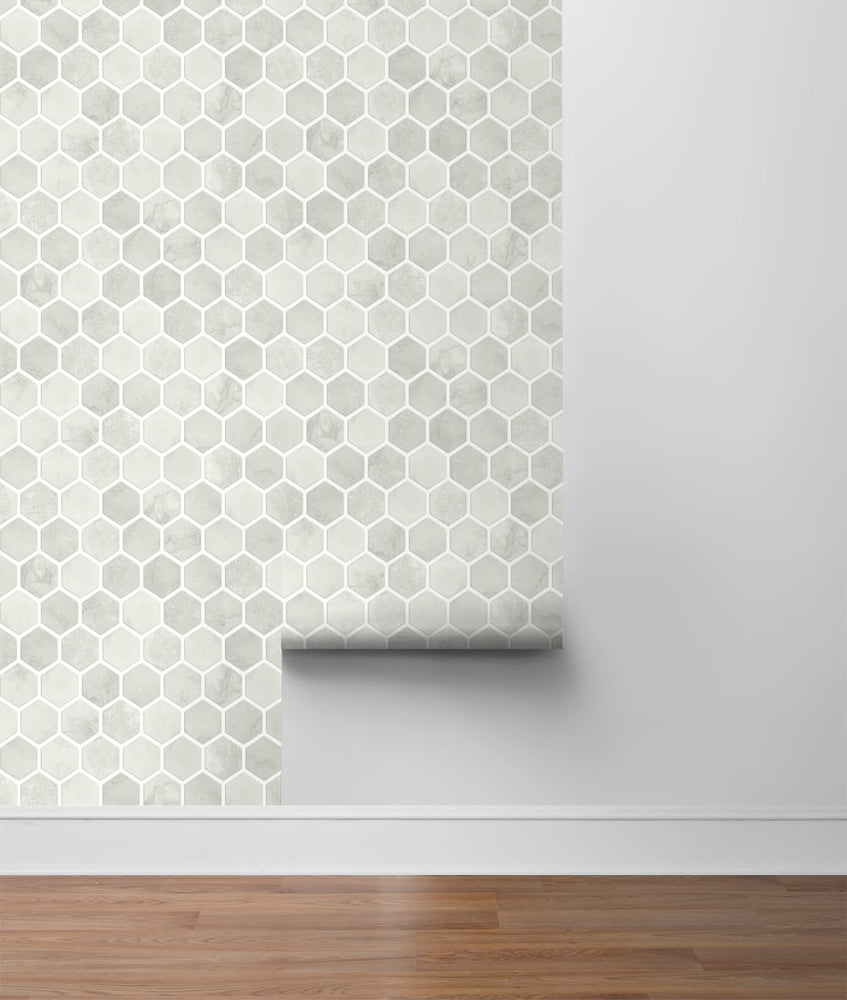 NW38606 inlay hexagon geometric peel and stick removable wallpaper roll from NextWall
