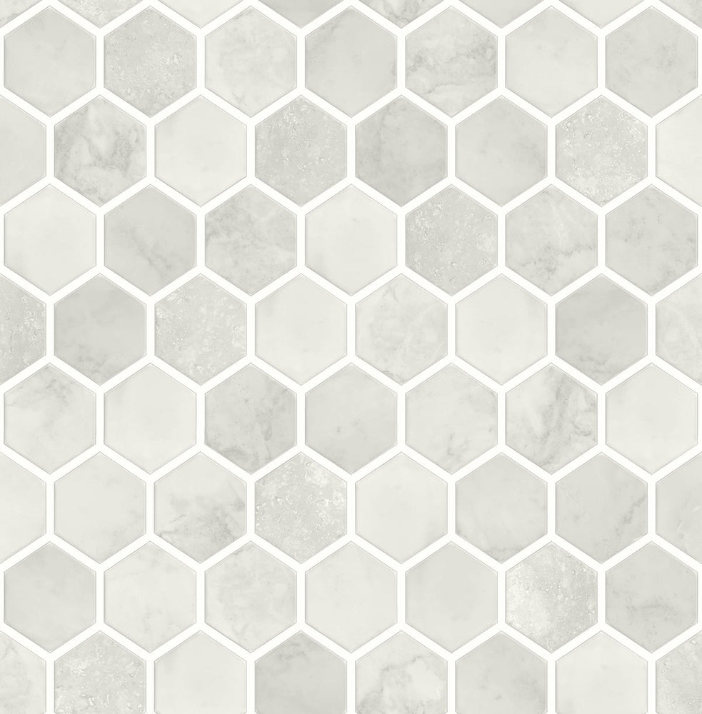 NW38606 inlay hexagon geometric peel and stick removable wallpaper from NextWall