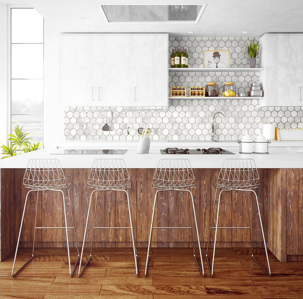 NW38615 inlay hexagon geometric peel and stick removable wallpaper kitchen from NextWall