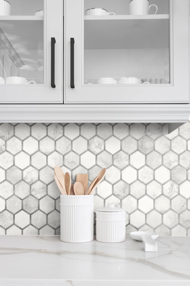 NW38615 inlay hexagon geometric peel and stick removable wallpaper backsplash from NextWall