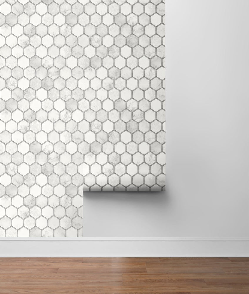 NW38615 inlay hexagon geometric peel and stick removable wallpaper roll from NextWall