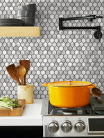 NW38700 marble hexagon faux peel and stick wallpaper backsplash from NextWall