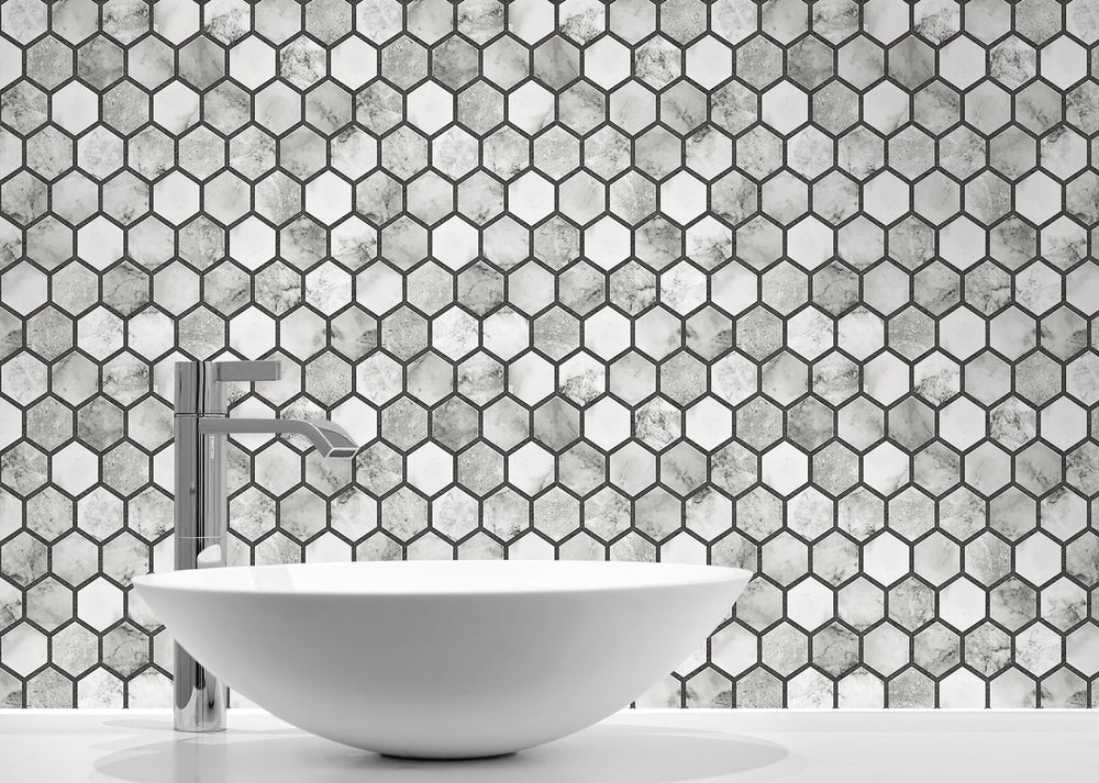 NW38700 marble hexagon faux peel and stick wallpaper bathroom from NextWall