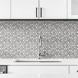 NW38700 marble hexagon faux peel and stick wallpaper kitchen backsplash from NextWall