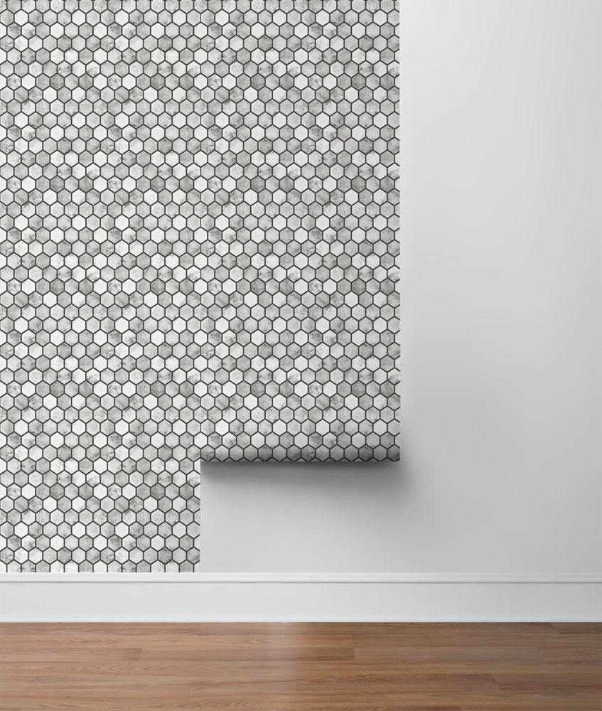 NW38700 marble hexagon faux peel and stick wallpaper roll from NextWall