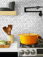 NW38710 marble hexagon faux peel and stick wallpaper backsplash from NextWall
