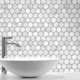 NW38710 marble hexagon faux peel and stick wallpaper bathroom from NextWall