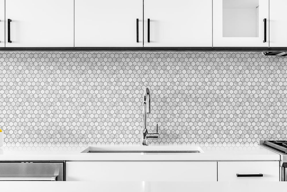 NW38710 marble hexagon faux peel and stick wallpaper kitchen backsplash from NextWall
