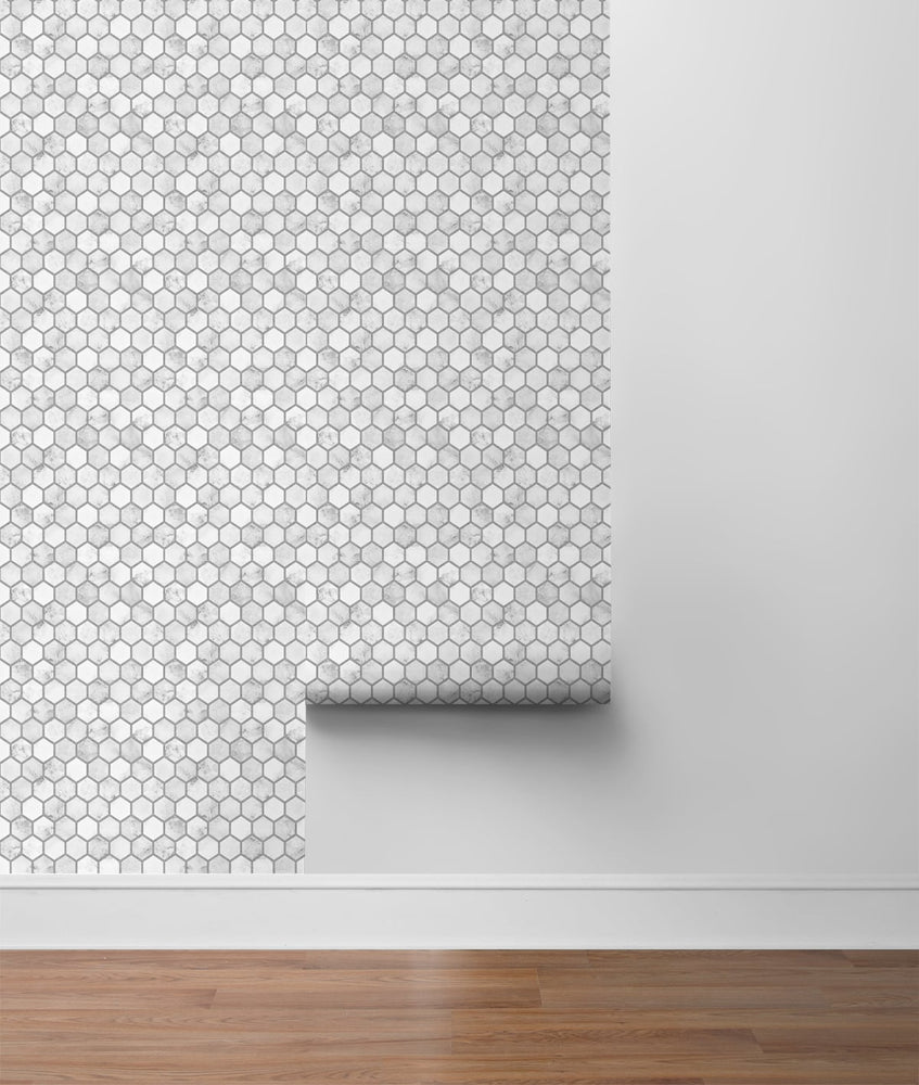 NW38710 marble hexagon faux peel and stick wallpaper roll from NextWall