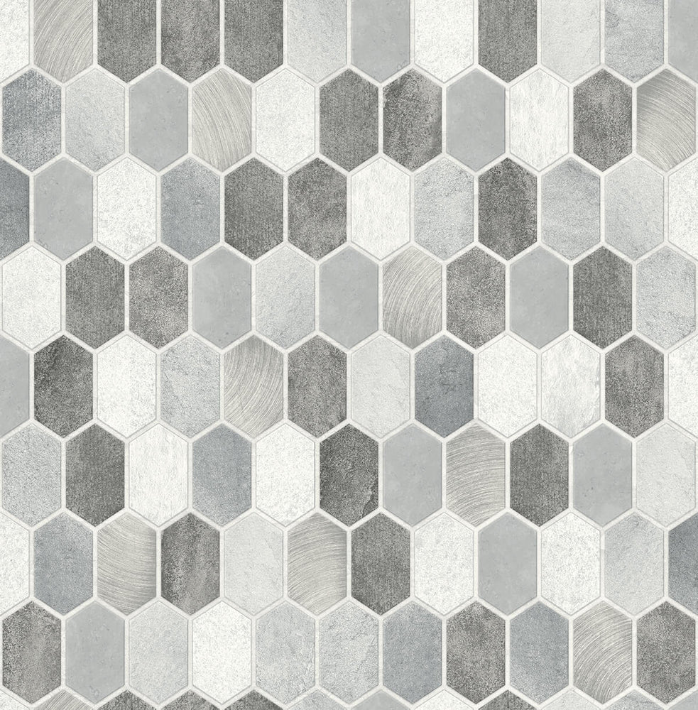 NextWall Brushed Hex Tile Peel and Stick Removable Wallpaper