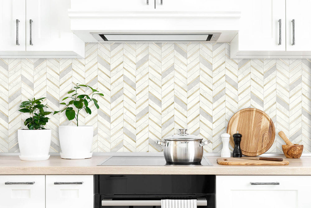 NW39205 faux chevron marble tile peel and stick removable wallpaper kitchen from NextWall