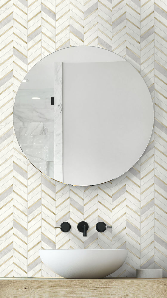 NW39205 faux chevron marble tile peel and stick removable wallpaper bathroom from NextWall