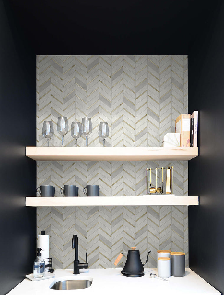 NW39205 faux chevron marble tile peel and stick removable wallpaper bar from NextWall