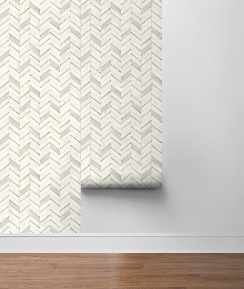 NW39205 faux chevron marble tile peel and stick removable wallpaper roll from NextWall