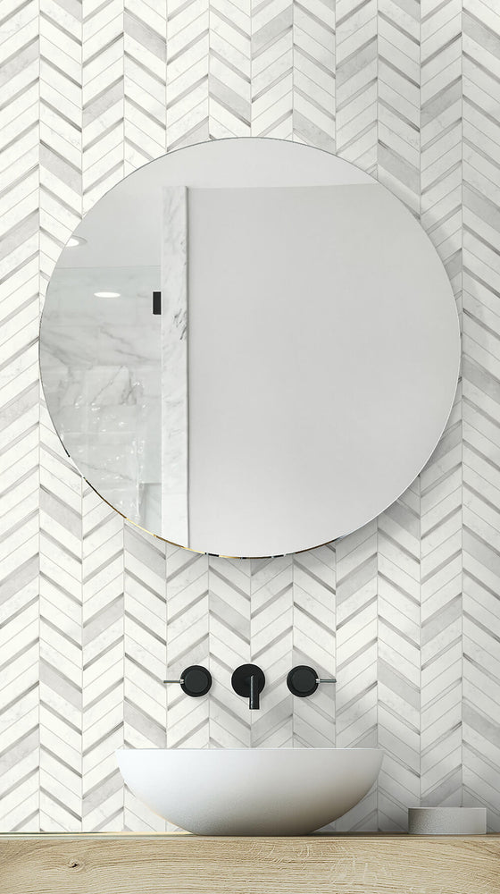 NW39208 faux chevron marble tile peel and stick removable wallpaper bathroom from NextWall