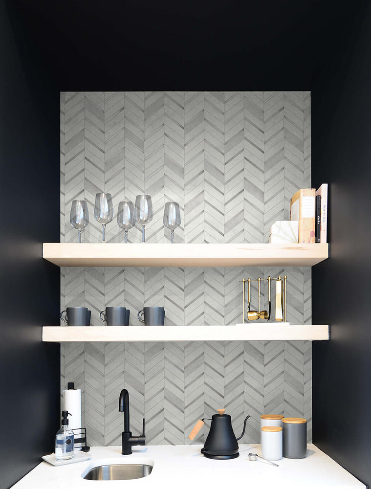NW39208 faux chevron marble tile peel and stick removable wallpaper bar from NextWall