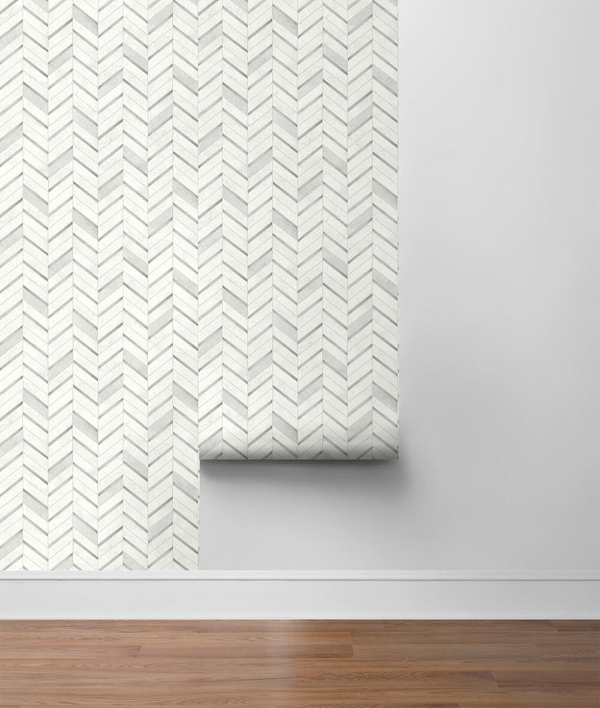 NW39208 faux chevron marble tile peel and stick removable wallpaper roll from NextWall