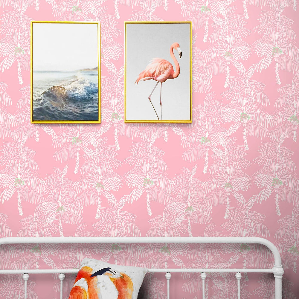 NW40001 Palm Beach botanical peel and stick removable wallpaper bedroom from NextWall