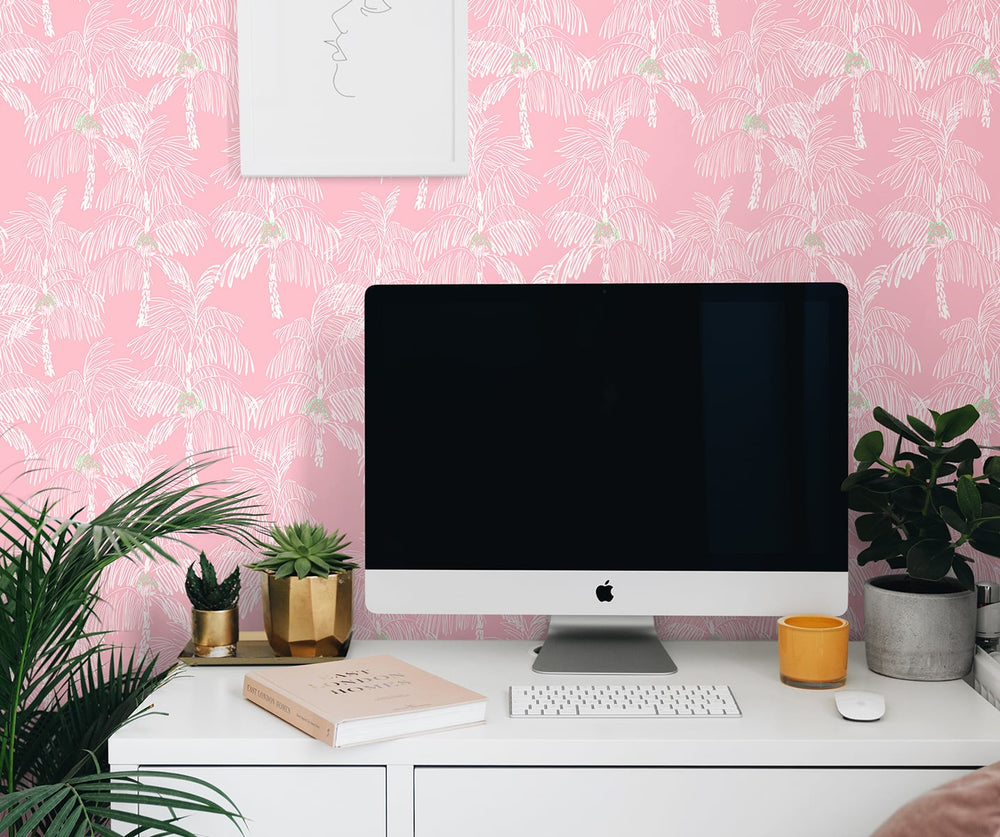 NW40001 Palm Beach botanical peel and stick removable wallpaper office from NextWall