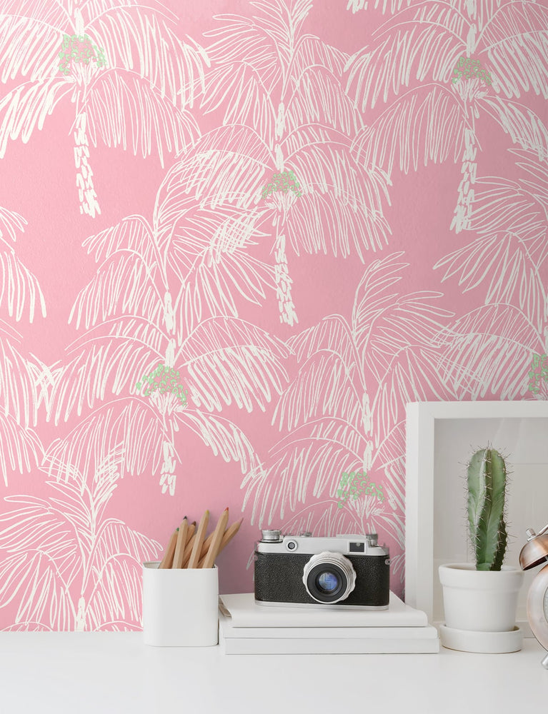 NW40001 Palm Beach botanical peel and stick removable wallpaper decor from NextWall