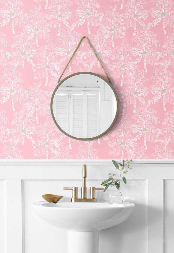 NW40001 Palm Beach botanical peel and stick removable wallpaper bathroom from NextWall