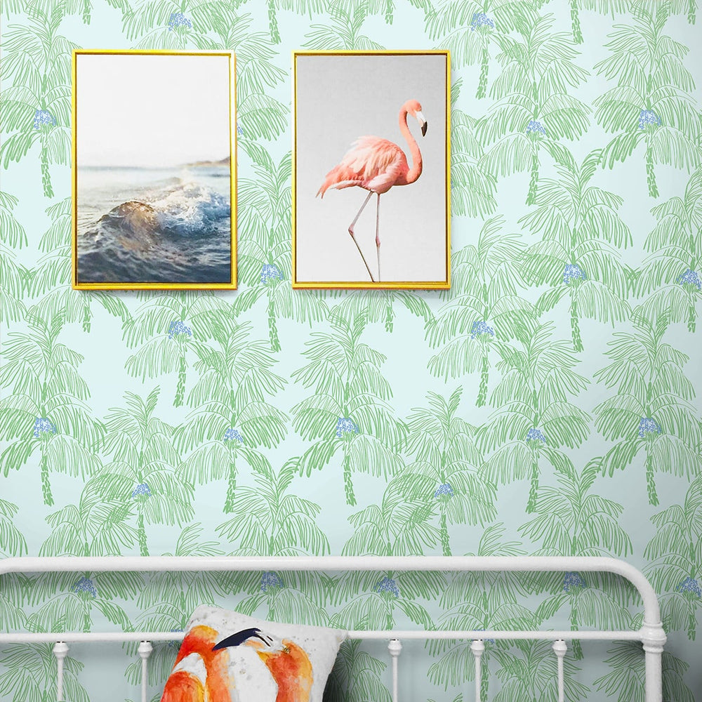 NW40002 Palm Beach botanical peel and stick removable wallpaper bedroom from NextWall
