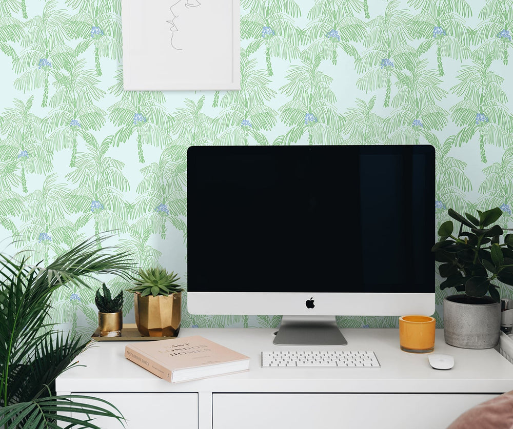 NW40002 Palm Beach botanical peel and stick removable wallpaper office from NextWall