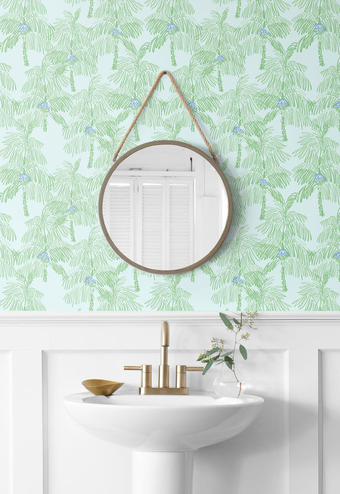 NW40002 Palm Beach botanical peel and stick removable wallpaper bathroom from NextWall