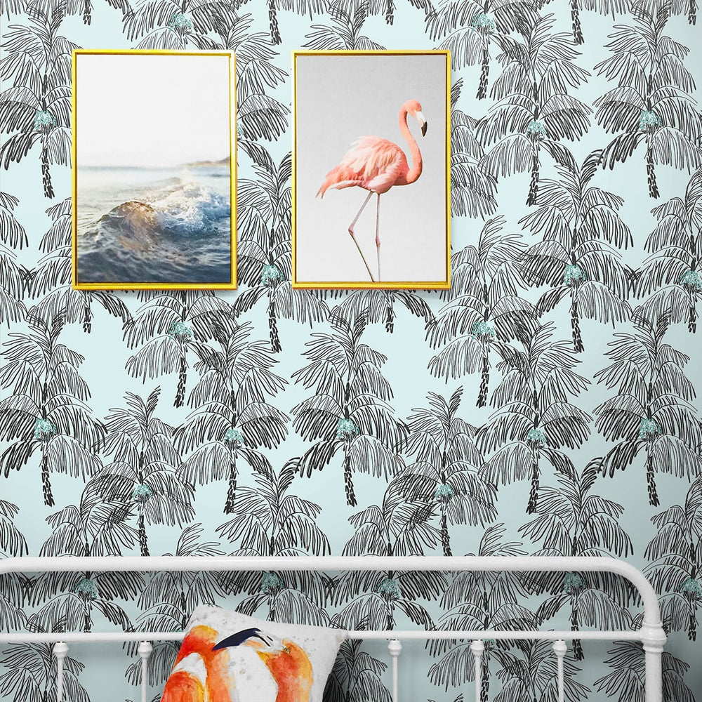 NW40012 Palm Beach botanical peel and stick removable wallpaper bedroom from NextWall