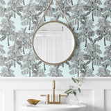 NW40012 Palm Beach botanical peel and stick removable wallpaper bathroom from NextWall