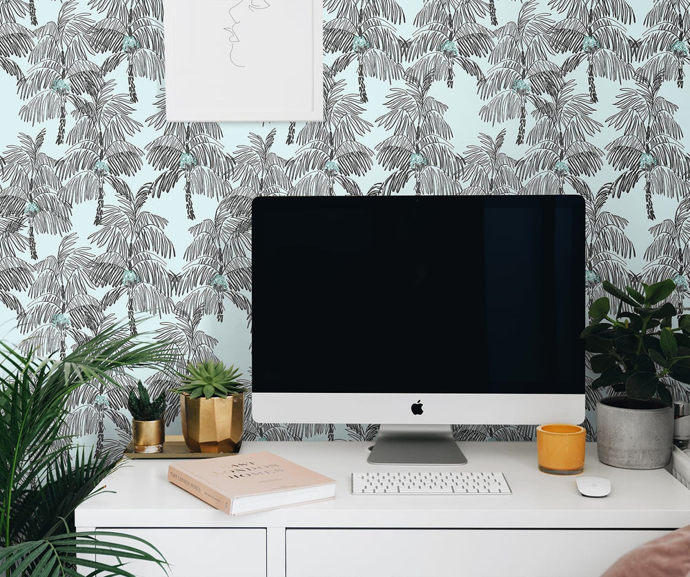 NW40012 Palm Beach botanical peel and stick removable wallpaper office from NextWall