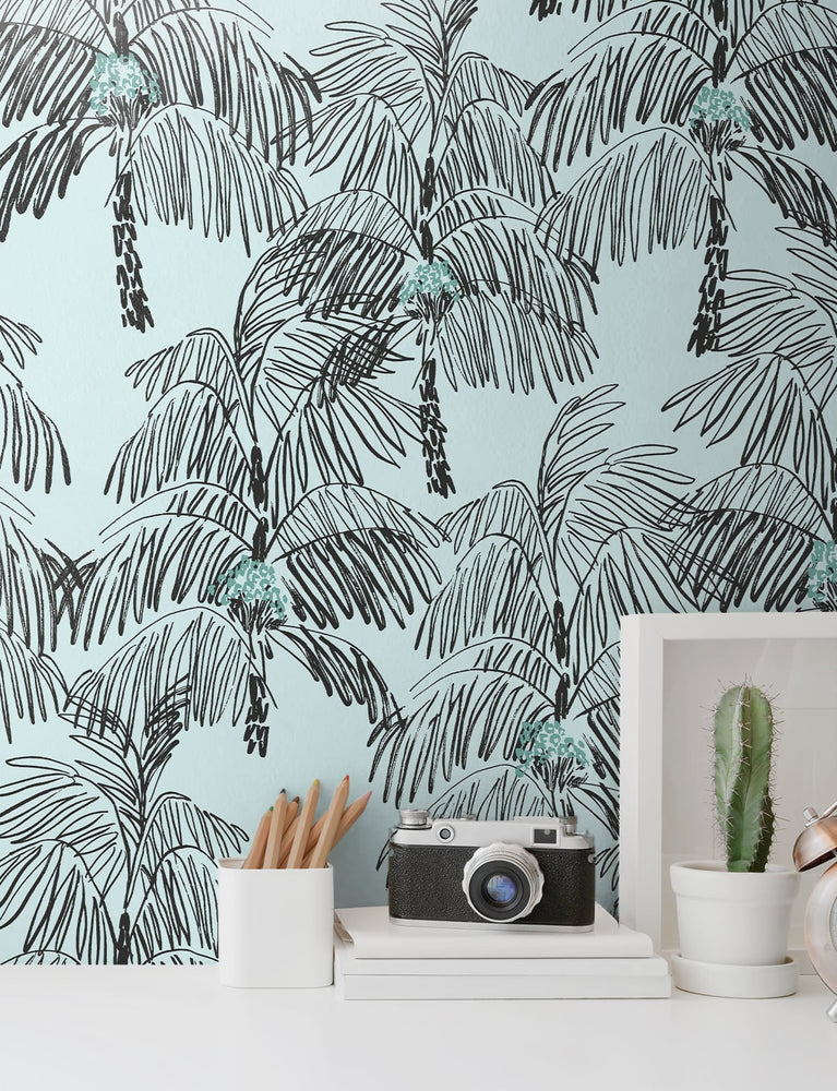NW40012 Palm Beach botanical peel and stick removable wallpaper decor from NextWall