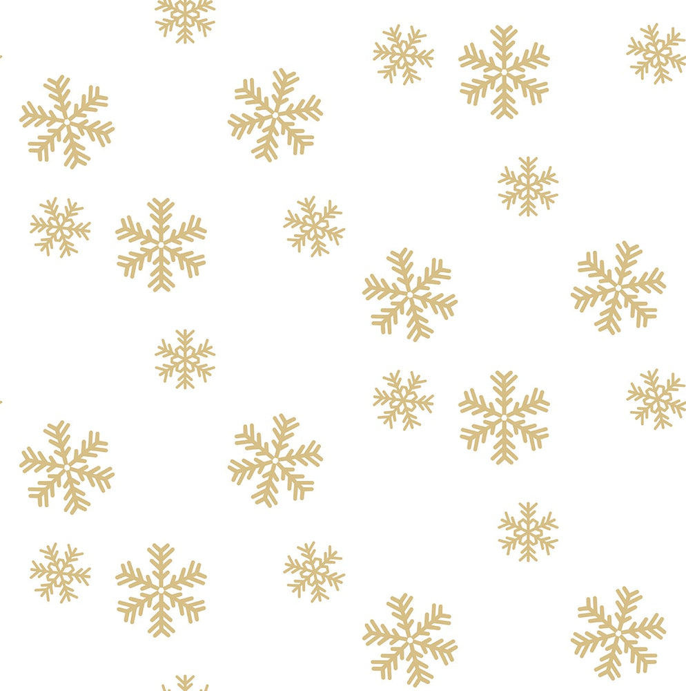 NextWall Snowflakes Metallic Peel and Stick Removable Wallpaper