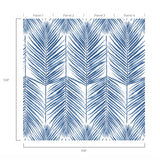 NZ10002M paradise palm leaf blue peel and stick wall mural diagram from NextWall