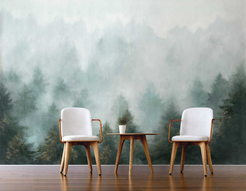 NZ10904M daybreak forest peel and stick wall mural living room from NextWall