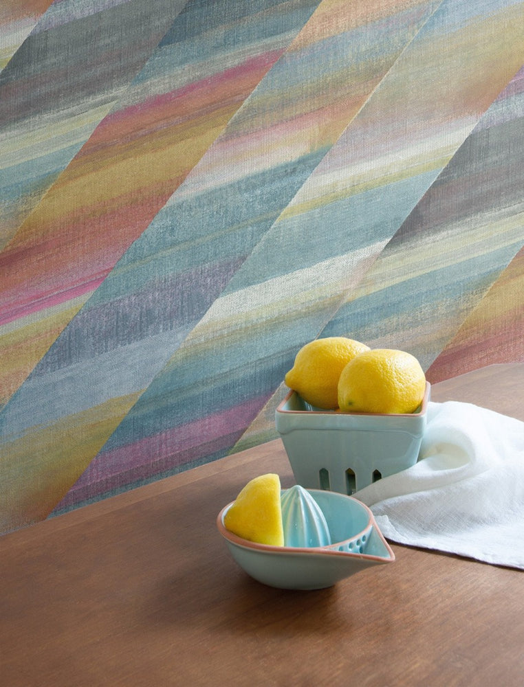 RY30313 rainbow diagonals striped wallpaper from the Boho Rhapsody collection by Seabrook Designs