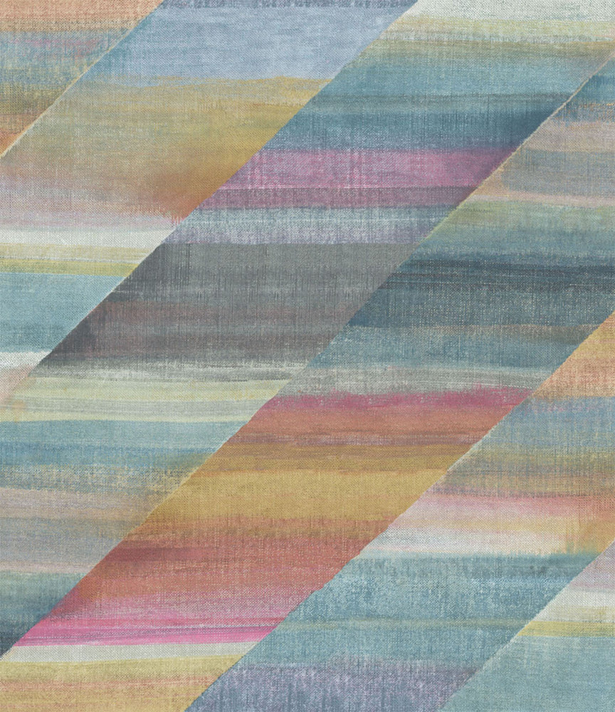 RY30313 multicolored rainbow diagonals striped wallpaper from the Boho Rhapsody collection by Seabrook Designs