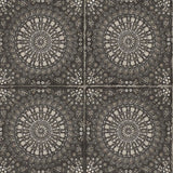 RY30700 black mandala tile rustic wallpaper from the Boho Rhapsody collection by Seabrook Designs