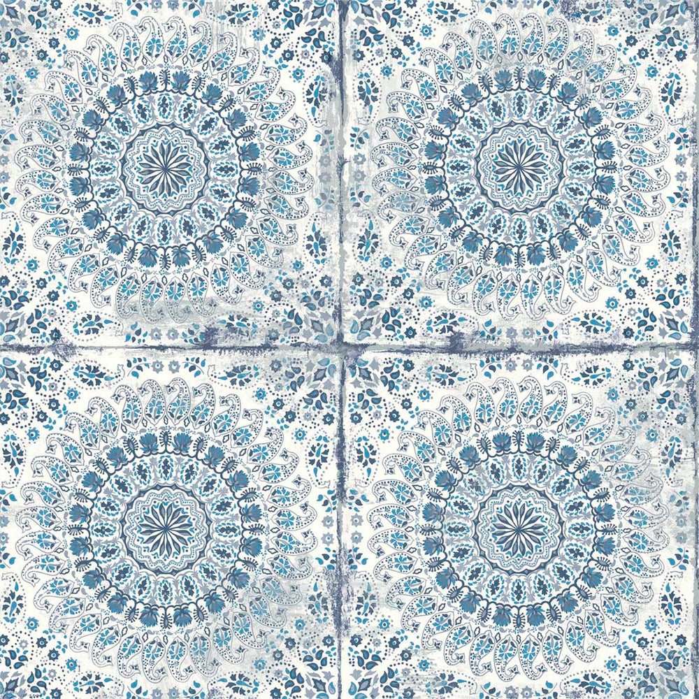 RY30702 blue mandala tile rustic wallpaper from the Boho Rhapsody collection by Seabrook Designs