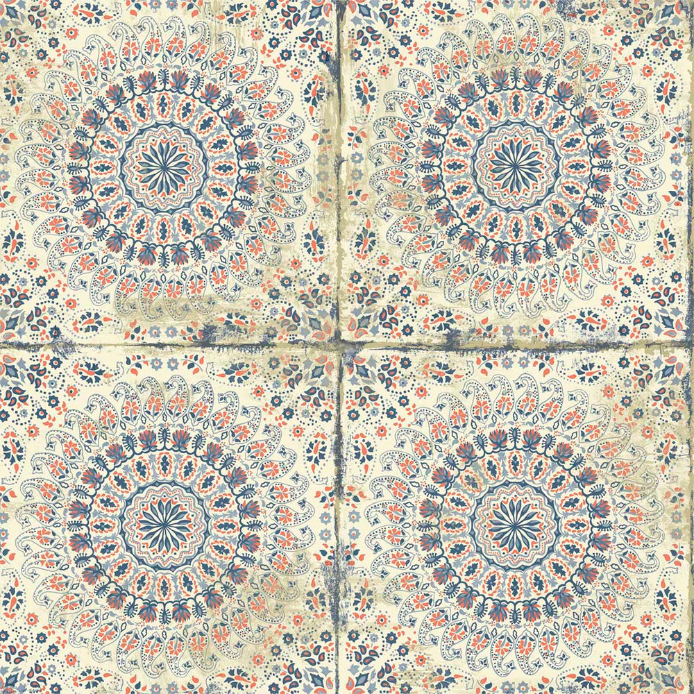 RY30706 cream mandala tile rustic wallpaper from the Boho Rhapsody collection by Seabrook Designs